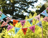 Ready to Ship, 2 Fabric Bunting Banners, Designer's Choice Happy Birthday Banner Bunting Party Flags. Party Decoration.  Reversible.