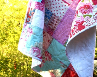 Pink, Red, and Aqua Baby Crib Quilt. 40 x 50 Inches. Perfect for the Crib.  Photo Prop Background.