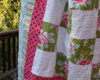 Custom Twin Sized Patchwork Quilt Featuring Your Choice From Available Fabrics.  Professionally Quilted.