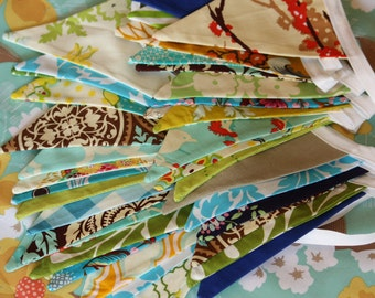 40 Foot Bunting, Custom Party Flags, Wedding Decoration, Photo Prop.  Featuring Medium Sized Flags in Cotton Fabrics by Popular Designers.