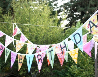 CUSTOM Happy Birthday Banner Bunting Party Flags.  A Unique Party Decoration.  Reversible. Made To Order in Your Chosen Colors.