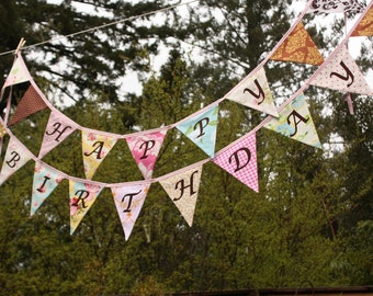 Shabby Chic Happy Birthday Banner Bunting Party Flags.  A Unique Party Decoration.  Reversible.