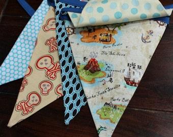 Pirate Themed Bunting.  Boy Fabric Party Banner.  Designer's Choice, Ready To Ship.  Photo Prop, Nursery Decoration, Birthdays.