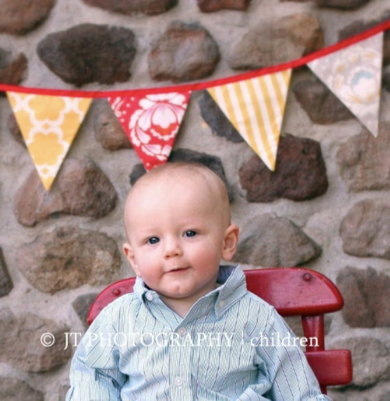 Sale, Flag Banner Featuring 5 Large Flags in Yellow, Blue, Red. Party Decoration, Garland Bunting, Photo Prop.