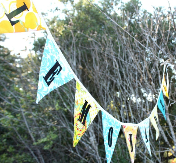 Lemonade Bunting Party Flags, Photo Prop, For a Child's Room or Photo Prop.