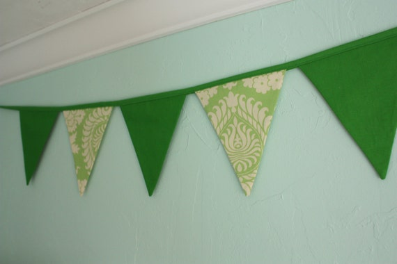 Sale St. Patrick's Day Fabric Banner, Amy Butler and Solid Green Bunting.  Ready To Ship.  Photo Prop, Nursery Decoration, Party Banner.