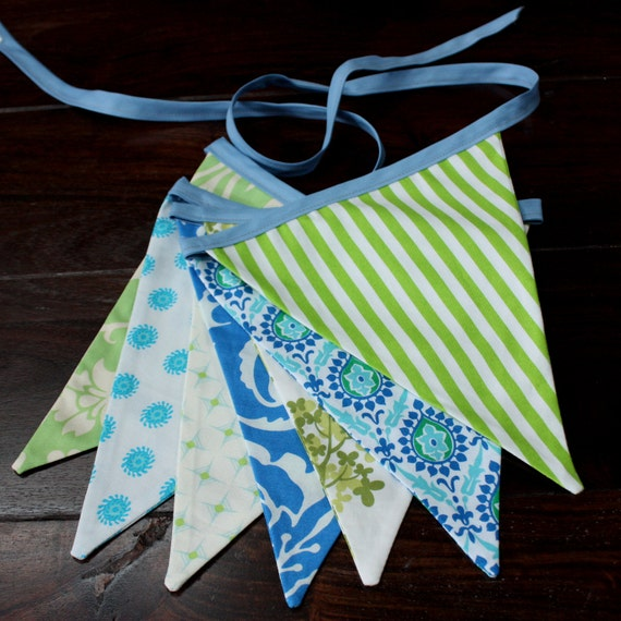 Fabric Bunting Banner in Green, Blue and White.  Ready To Ship.  Party Decor, Photo Prop, Nursery Decoration.