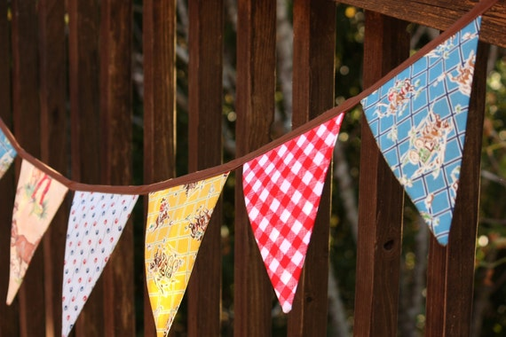 Vintage Cowboy Western Theme Fabric Bunting, Boy's Banner, Photo Prop, Party Flags in Limited Edition Fabrics. Only ONE Available.