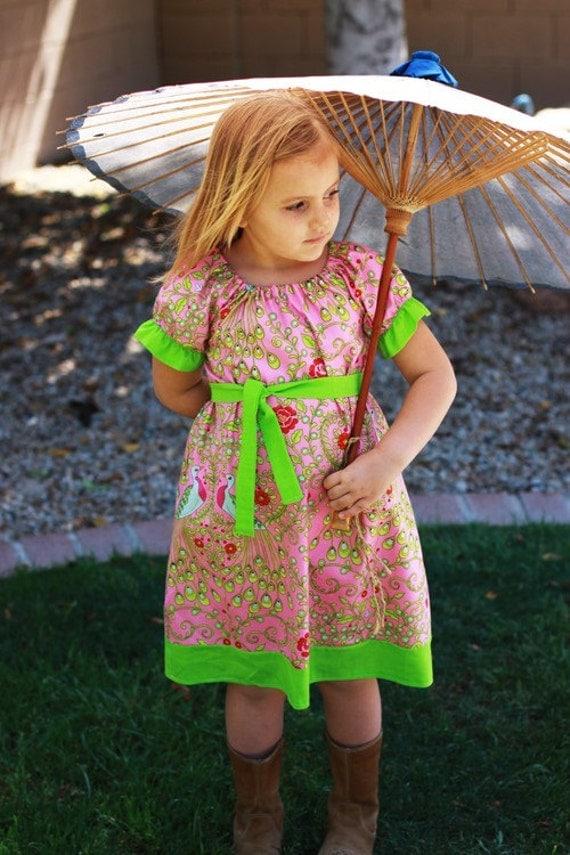Oh So Sassy--DIY Kit-- Tessa Dress in Pretty Peacocks--5-8T