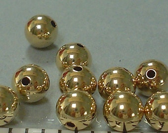 14Kt gold filled smooth round beads 5 MM/10 Pieces