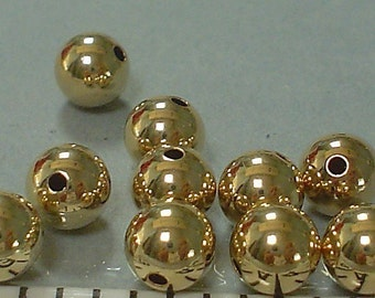 14KT gold filled smooth shinning round bead 8 MM / 5 beads.....buy 1 get 1 free