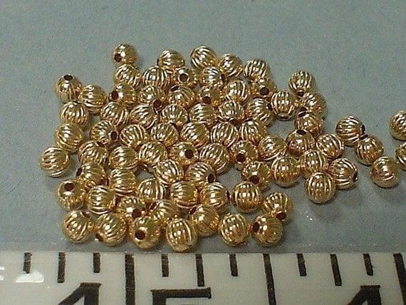14k gold filled corrugated bead 3mm/10 pcs