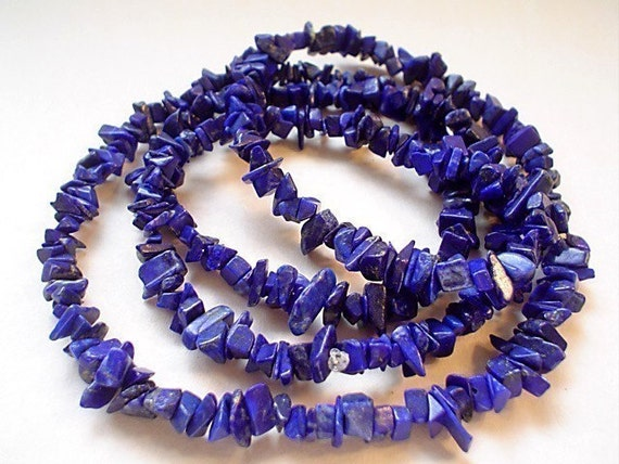 gemstone lapis lazuli A grade small nugget chips/16 inch
