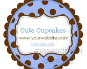 Blue and Brown Polka Dot Personalized Stickers, Address Labels, Gift Tags, Party Favor, Birthday, Baby Shower, Children, Kid - Set of 12