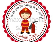 Fire Fighter Personalized Stickers, Fire Station, Captain, Fire Alarm, Gift Tags, Address Labels, Birthday, Captain, Boy  - Set of 12