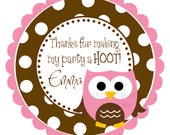 Cute Pink Owl Personalized Stickers, Pink Polka Dot, Birthday, Address Labels, Gift Tags, Hang Tags, Party Favors - Set of 12