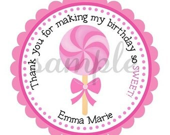 Pink Lollipop Personalized Stickers, Birthday, Gift Tags, Party Favors, Pink, Sucker, Strawberry, Children, Seals, Chocolate  - Set of 12