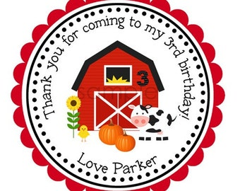 Barnyard Friends Personalized Stickers, Birthday, Gift Tags, Party Favors, Children, Seals, Barn, Baby Chick, Pumpkin, Fall  - Set of 12