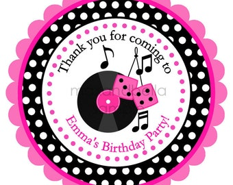 Fifties Personalized Stickers, Birthday Stickers, Address Labels, Party Tags, Music, 50s, 45 album - Set of 12