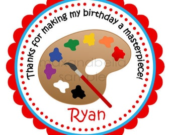 Arts and Crafts Personalized stickers, Hang Tags, Labels, Seals, Favor, Birthday, Party, Kids, Children - Set of 12