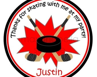 Hockey Personalized Stickers, Address Labels, Hang Tags, Gift Tag, Sports, Party Favor - Set of 12