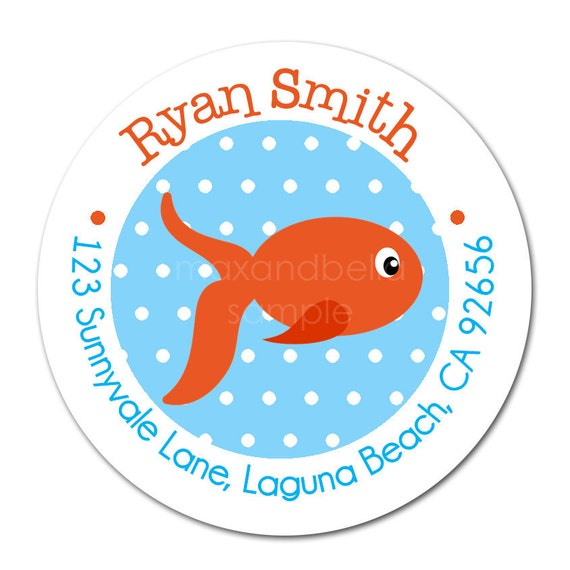 Personalized Cute Goldfish Stickers, labels, seals, favor, tags  - Set of 24