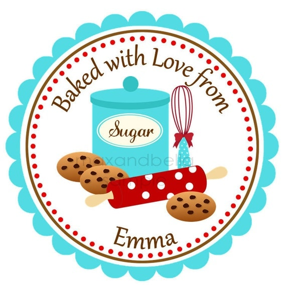 Baking Cookies Personalized Stickers, Labels, Address Labels, Gift Tags, Gift Tags, Rolling Pin, Whisk, Cookies, Sugar - Set of 12