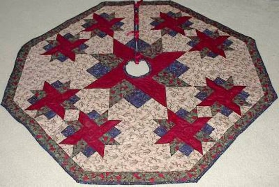 Quilted christmas victorian tree skirt or table topper pattern