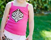 SALE...Sweet Cocoa Tank Top in Pink by Dolce Baci for baby and toddler girls - custom size 12m- 6 years