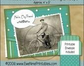 Printable Greeting Card and Envelope - Hello Friend, Bicycle - Digital PDF File