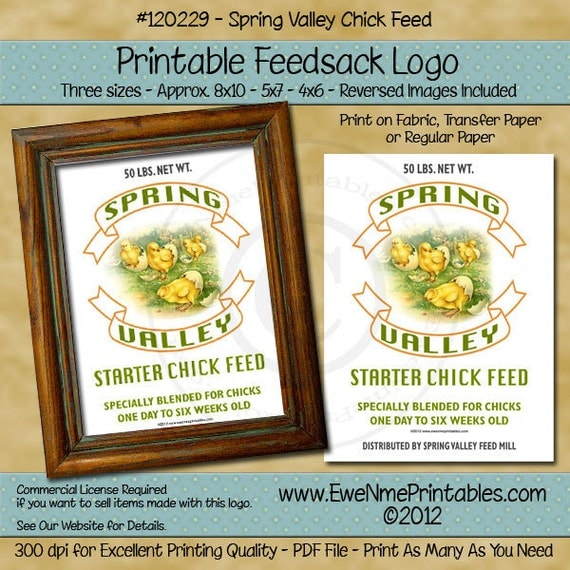 Printable Feedsack Logo - Spring Valley Chick Feed - U-Print PDF File