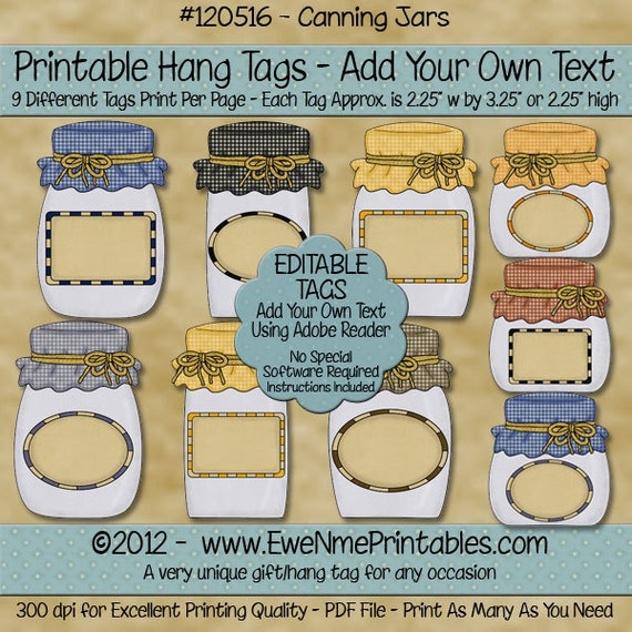 INSTANT DOWNLOAD - Digital Hang Tags  - Canning Jars - Editable PDF File