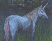 Unicorn Night decorative reproduction from a prismacolor painting by Helen Krummenacker