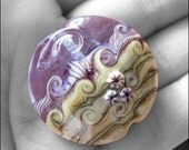 Lampwork Lentil Focal Bead - TWISTED HEATHER - by FinishingTouchJewels