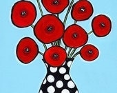 Red Poppies Aqua - print