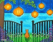 Summer Dreams, Orange Tabby ,Chinese Lanterns, Ocean,  Dream Shelagh Duffett artist