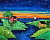 Evening Sail in a Twilight Cove, Nova Scotia Print by Shelagh Duffett