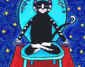 Yoga Cat, starry sky, Follow your Bliss..Print..Shelagh Duffett