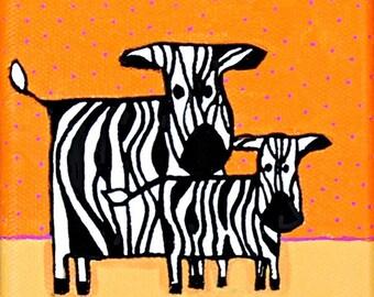 Baby Zebra and Mom - Print