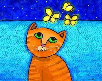 Firefly Cat Orange tabby ocean whimsical- Print- Shelagh Duffett