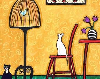 white CAT, birdcage, bird,yellow - Shelagh Duffett Print
