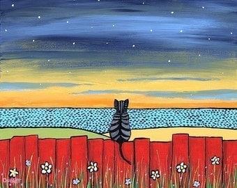 Twilight Tabby Cat   on red fence Shelagh Duffett -  Print