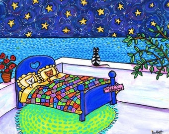 Mediterranean Sleeping Kitties Shelagh Duffett  - Print