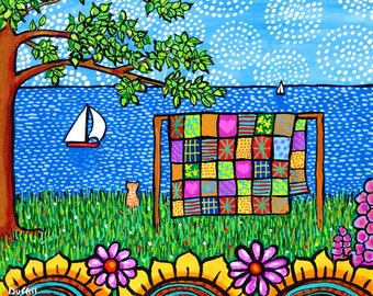 Patchwork Quilt Folkart Print with Cat