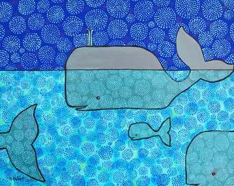 Whale and Blue Baby  Shelagh Duffett reproduction print