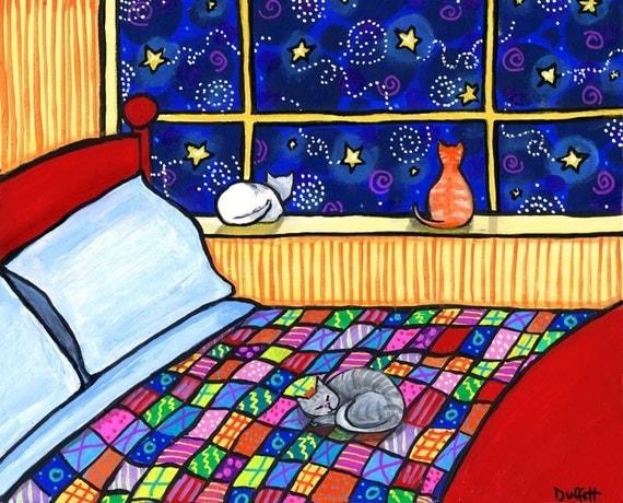 Three Cat Quilt moonlight bed- print Shelagh Duffett