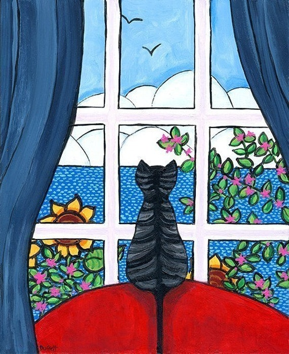 Ocean Tabby window Shelagh Duffett Print