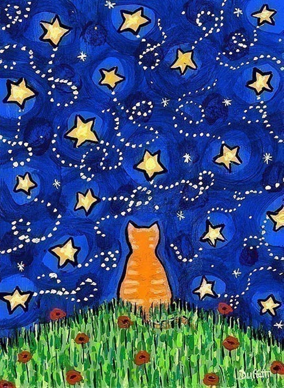 Orange Tabby Cat Looking at Starry Night Sky , All Is Well, print by Shelagh Duffett