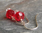 CLEARANCE SALE - Candy Red - Swarovski Crystal Wire Wrapped Earrings
