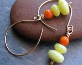 CLEARANCE SALE - Pucker Up - Lemon Jasper and Orange Coral Gold Filled Wire Earrings